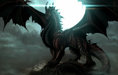 Wallpaper forest night fog the moon dragon wings art images for desktop section фантастика download