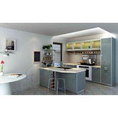 Ash Kitchen Cabinets Stainless Steel Double Sink Undermount 康宝厨柜 Uv系列uv板 亮光蓝灰单色产品图片 亮光蓝 亮光蓝灰单色