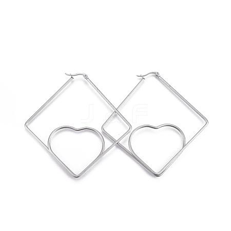 Wholesale 304 Stainless Steel Hoop Earrings, Rhombus with