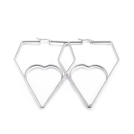 Wholesale 304 Stainless Steel Hoop Earrings, Diamond with