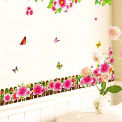 Living Room Border Design Interior Styles Buy Wall Stickers Flowers Lcd Tv Background Led Morning Glory Fence Vinyl
