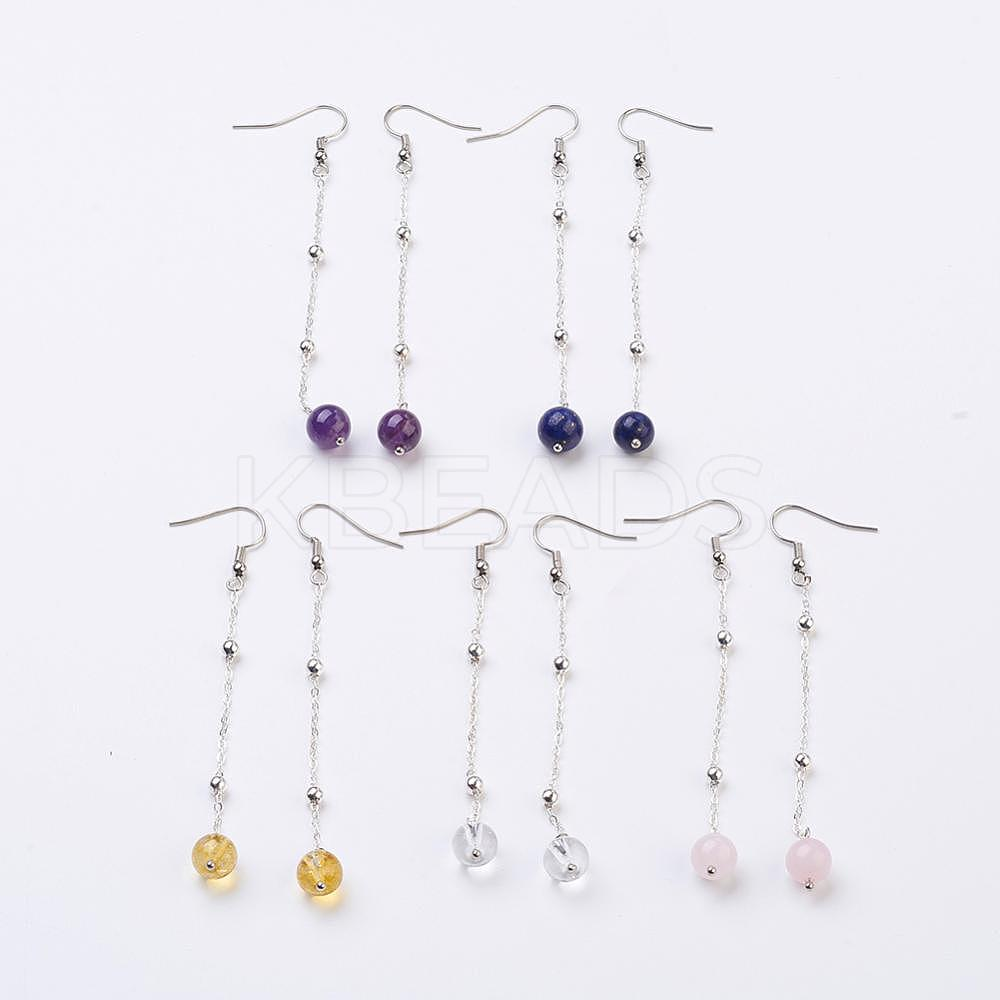 Wholesale Natural Gemstone Beads Dangle Earrings, with