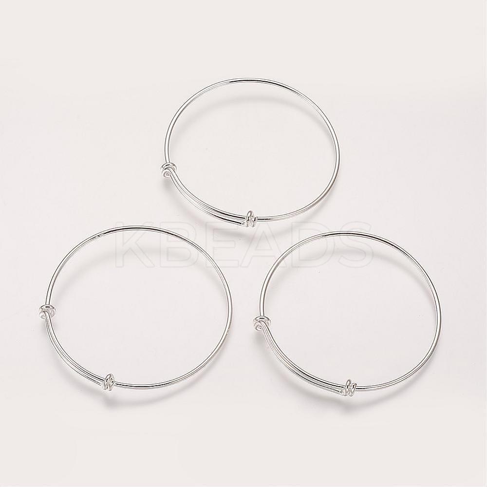 Wholesale Brass Bangle Making, Silver, Diameter: 68~71mm