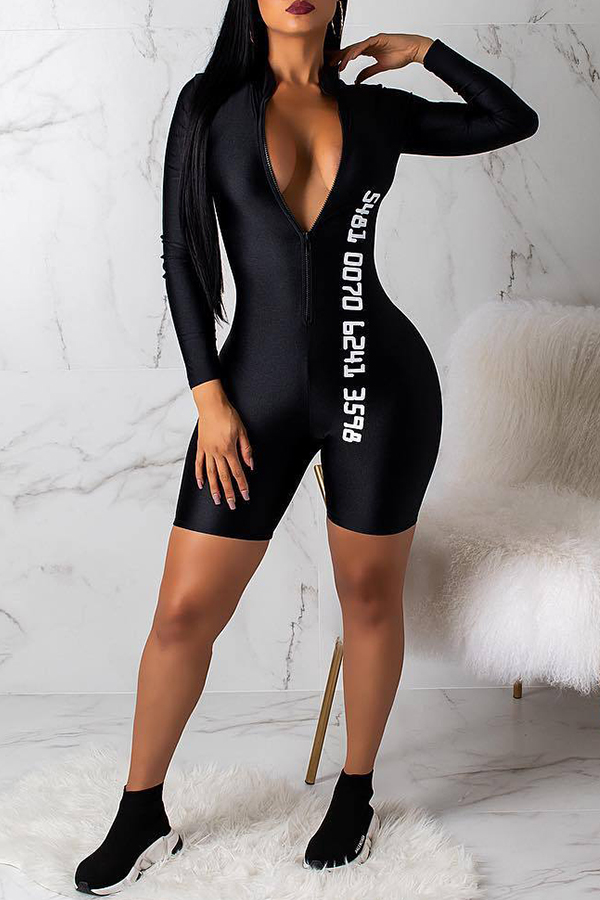 Lovely Sexy Printed Skinny Black Onepiece Rompers_Rompers_Jumpsuits_LovelyWholesale  Wholesale