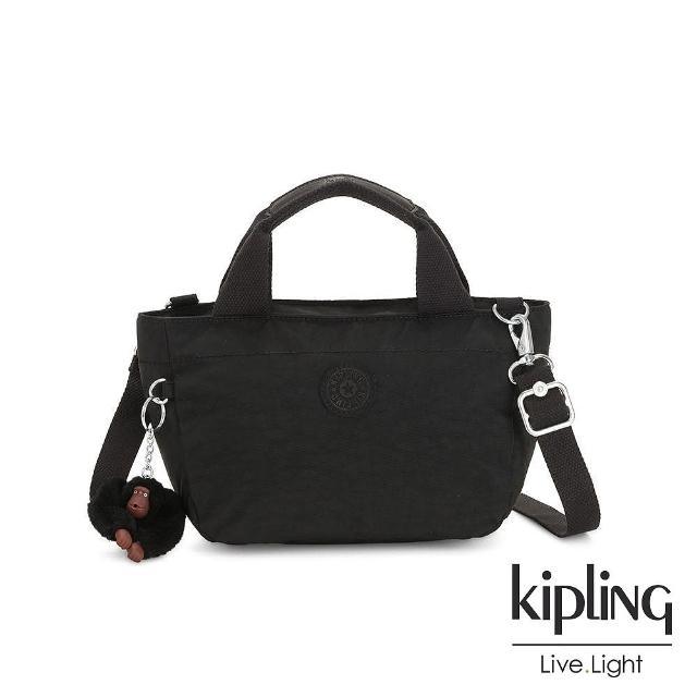 【KIPLING】質感黑手提兩用斜背包-SUGAR S II