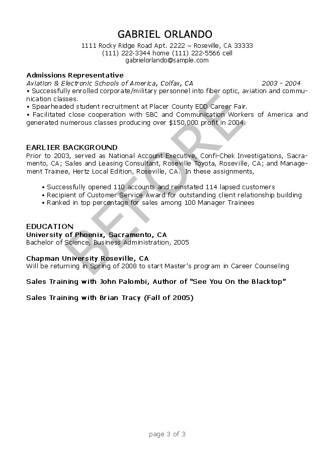 Resume Editing Samples  ResumesPlanetcom