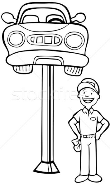 Auto Mechanic Car Lift vector illustration © John Takai