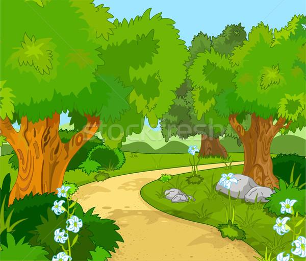 Download deciduous forest stock vectors. Forest Landscape Vector Illustration C Dazdraperma 1659963 Stockfresh