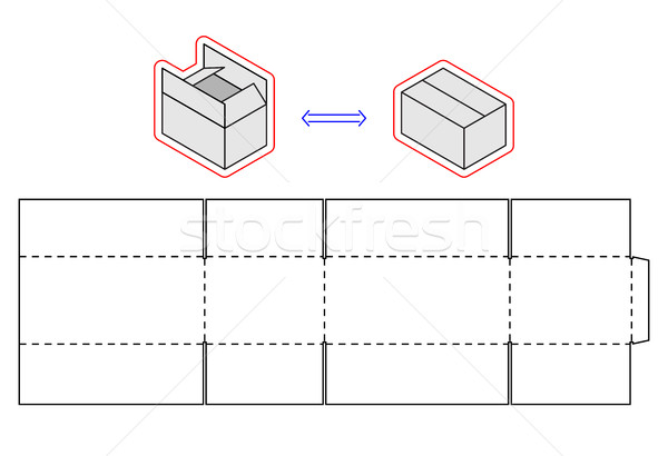 Horizontal box template. Vector packing. Simple Cardboard