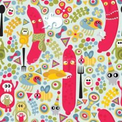 Seamless texture with sausages food monsters vector illustration © Ekaterina Panova ekapanova #1254758 Stockfresh