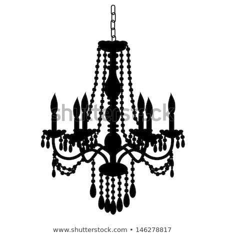 Baroque chandelier silhouette vector illustration © Ela