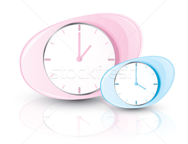 pink and blue clocks