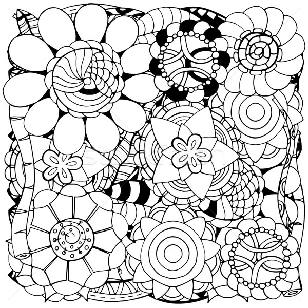 Hand Drawn Floral Vector Doodle Round Monochrome Card