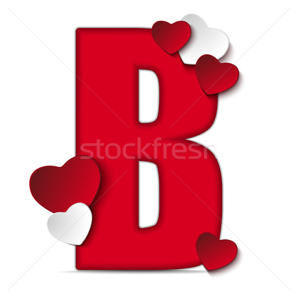 Alphabet Letters With Red Heart Valentine Day Vector
