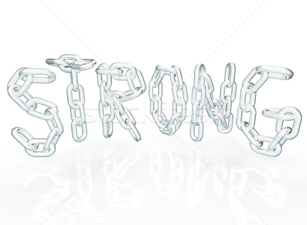 Strong Chain Link Word Letters Metal Chains stock photo