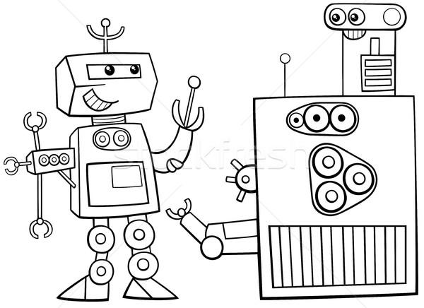 Robotok · karakter · oldal · feketefehér · rajz
