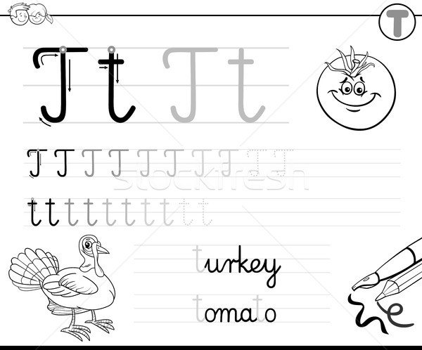 learn to write letter T workbook for kids vector