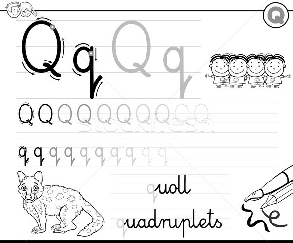learn to write letter Q workbook for kids vector