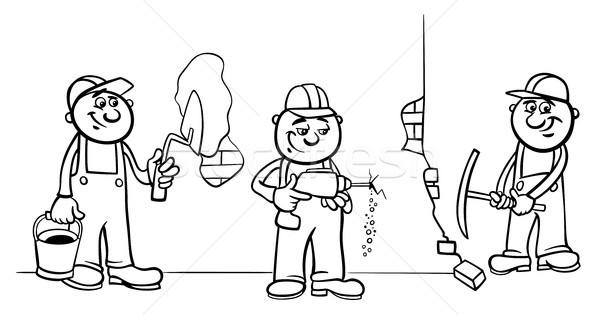 Utasítás · munkások · építők · csoport · szín · könyv