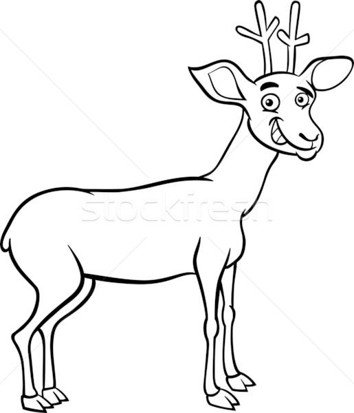 Deer Cartoon Illustration For Coloring Vector Illustration