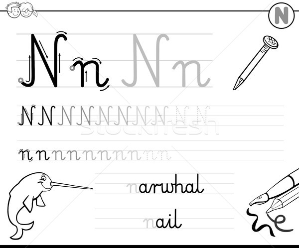 learn to write letter N workbook for kids vector