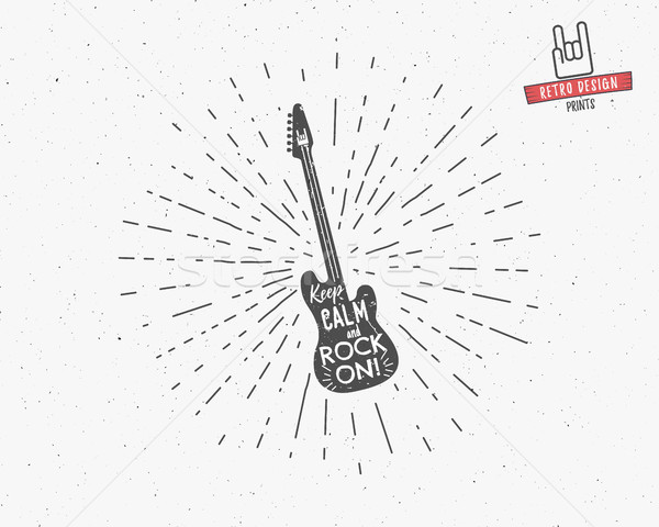 Vintage Label Rock Roll Style Typography Stock Vector