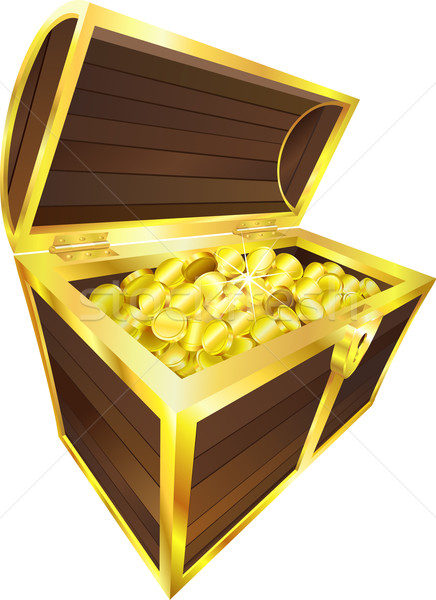 Illustration of treasure chest containing gold coins vector illustration  Christos Georghiou