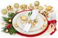 Christmas Dinner Table Setting stock photo  marilyn ...