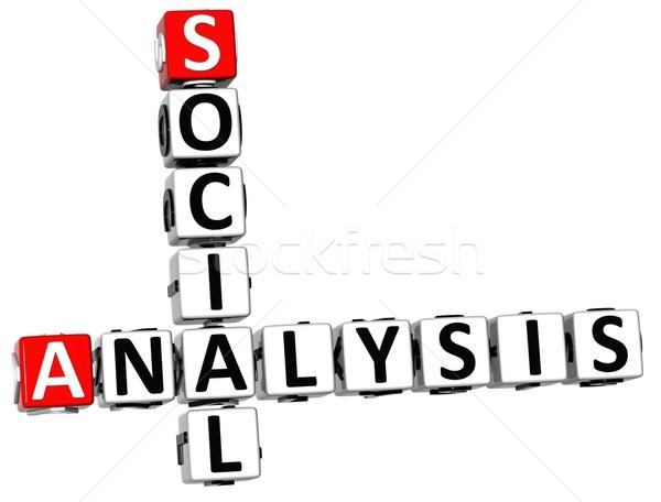 3D Legal Social Analysis Crossword cube words stock photo
