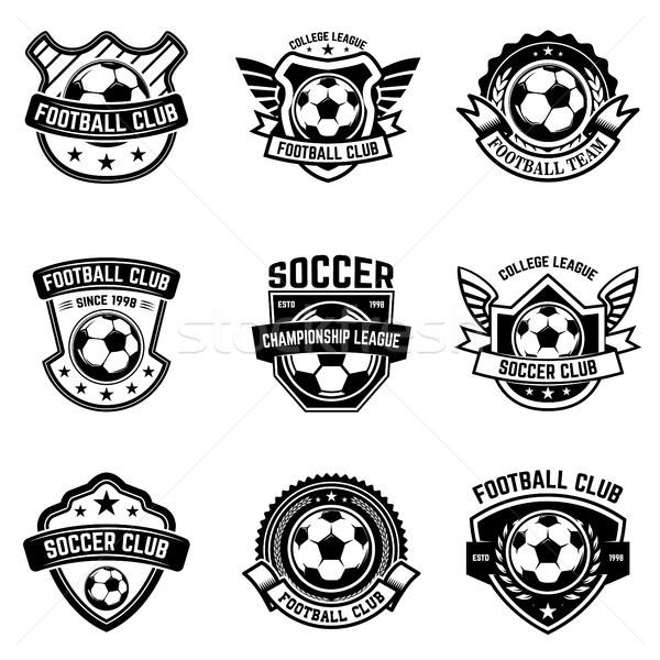 Set of soccer, football emblems. Design element for logo