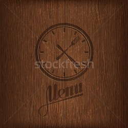restaurant menu design with lunch time icon on wood background vector illustration © Maksim Harshchankou maximmmmum #4986137 Stockfresh