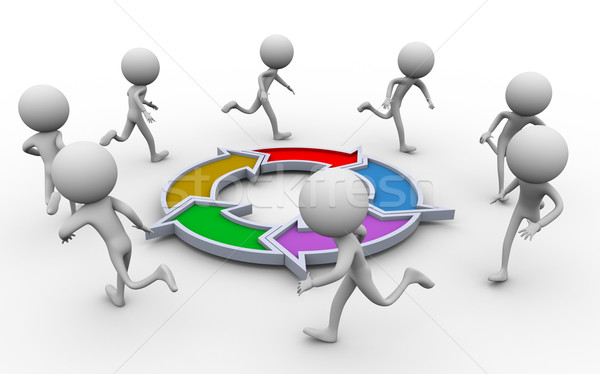 3d people running diagram