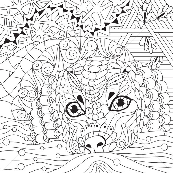 Lioness zentangle styled with clean lines for coloring