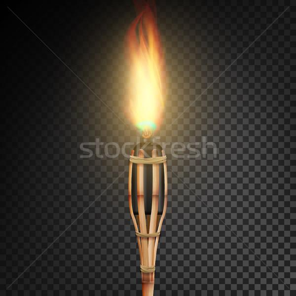 burning beach bamboo torch