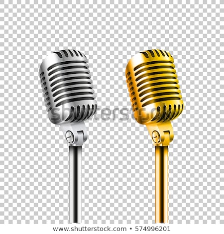 retro golden microphone with