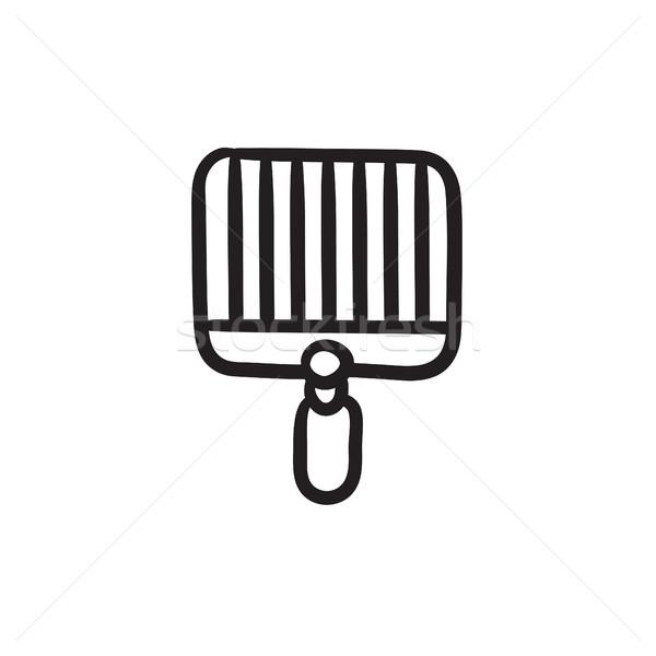 Empty barbecue grill grate sketch icon. vector