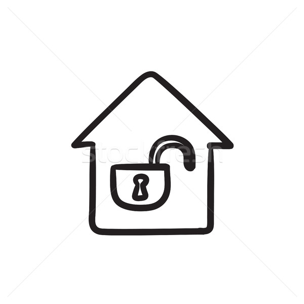 House with open lock sketch icon. vector illustration