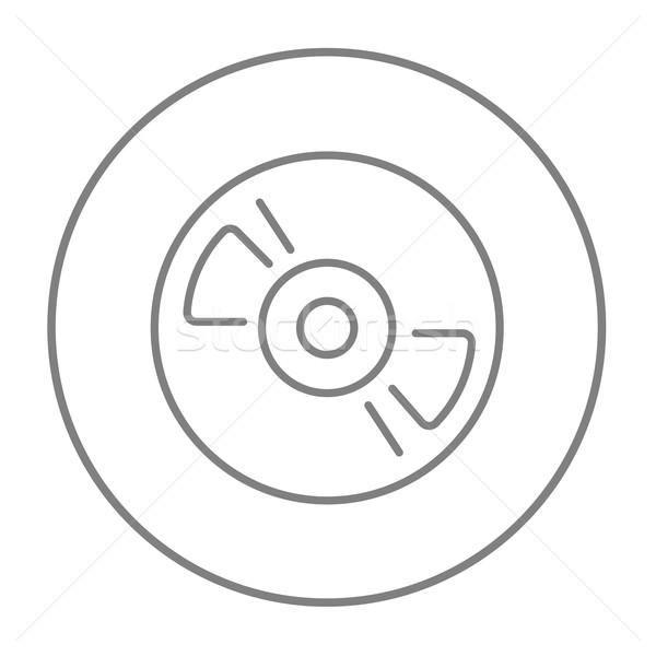Reel tape deck player recorder line icon. vector