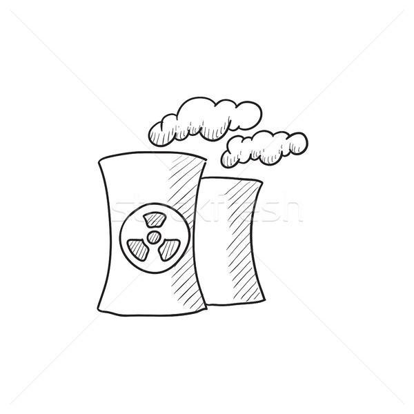 Nuklearen · Kraftwerk · Skizze · Symbol · Vektor