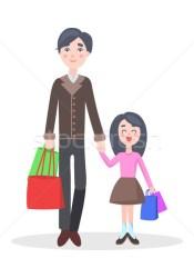 Family Shopping Cartoon Flat Vector Concept vector illustration © robuart #8451540 Stockfresh