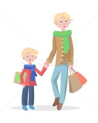 Family Shopping Cartoon Flat Vector Concept vector illustration © robuart #9285520 Stockfresh