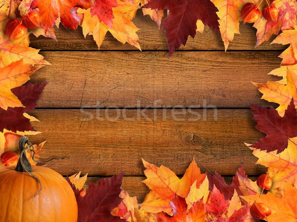Fall Leaves Wallpaper Border Autumn Leaves Frame On Wood Stock Photo 169 Sandra