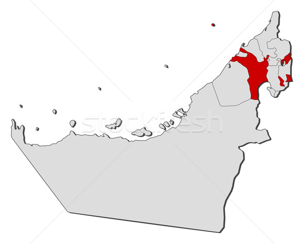 Map of the United Arab Emirates Sharjah highlighted