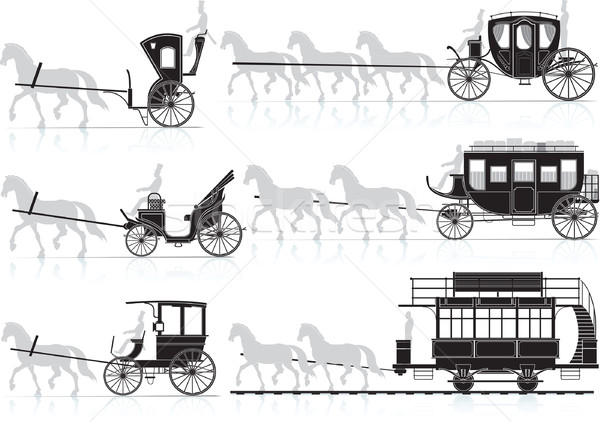 Silhouette of old horse-drawn carriages from the sled