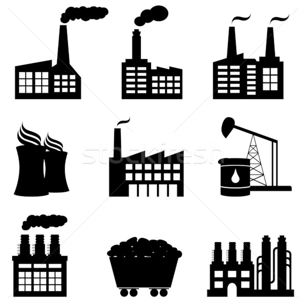 Factory, nuclear power plant and energy icons vector