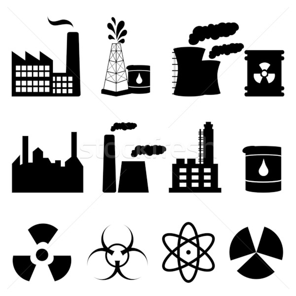 Industrial buildings and signs icon set vector