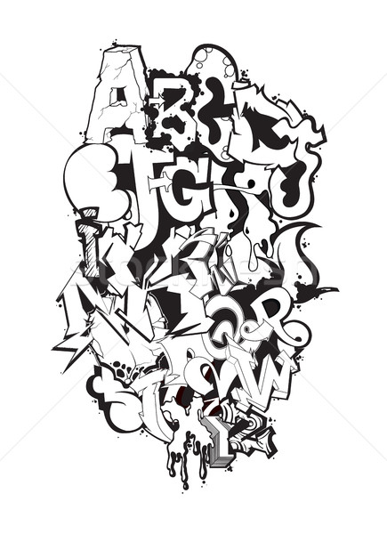 Our cool fonts generator works by taking normal text you input and converting it into a unique and fun font you can use. Graffiti Font Black And White Composition Vector Illustration C Vanzyst 7708605 Stockfresh