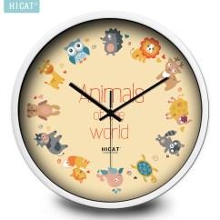 Kitchen Clocks Discount Hardware Hicat疯小猫旗舰店 Hicat疯小猫十二个卡通动物挂钟简约时尚百搭卧室客厅