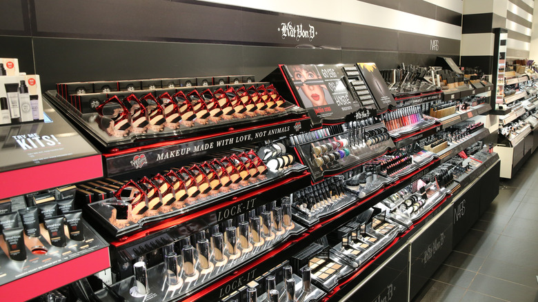 Makeup products at a Sephora store