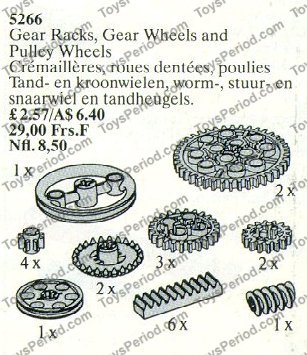 LEGO 5266 Gear Racks, Gear Wheels and Pulley Wheels Set
